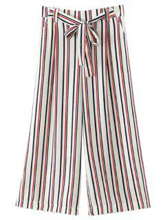 Self-Tie Rayé Pantalon Large - Blanc L