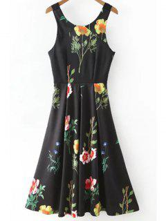 Floral Print Scoop Neck Waisted Dress - Black L