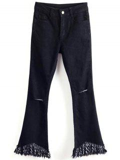 Tassels Spliced Ripped Boot Cut Jeans - Black 2xl