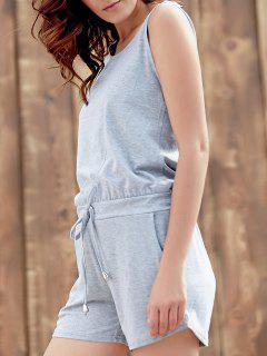 Solid Color Scoop Neck Sleeveless Playsuit - Gray Xl