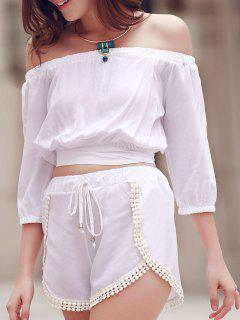 Off The Shoulder Crop Top And Solid Color Shorts Suit - White M