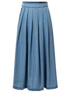 Pleated Blue Full Skirt - Blue L