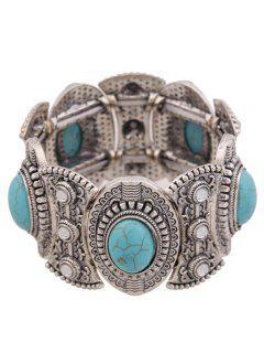 Turquoise Oval Elastic Bracelet - Blue
