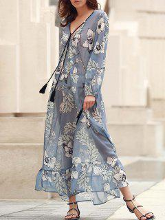 V-Neck Floral Print Boho Dress - Blue Xl