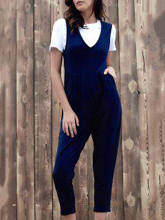 Fitting Solid Color Plunging Neck Sleeveless Jumpsuit - Purplish Blue S