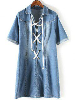 Denim Lace Up Turn Down Collar Short Sleeve Dress - Blue M