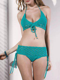 Cut Out Spaghetti Straps Crochet Bikini Set - Green