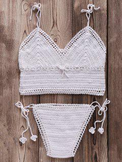 Crocheted Spaghetti Straps Bikini Set - White
