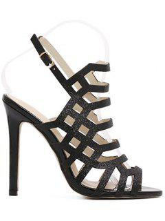 Peep Toe Sequined Stiletto Heel Sandals - Black 39