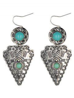 Faux Turquoise Triangle Pendant Earrings - Silver