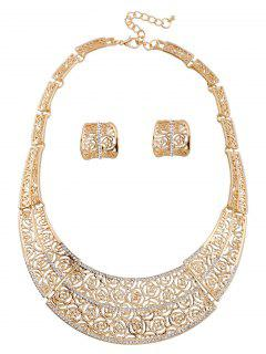 A Suit Of Rose Hollow Out Necklace And Earrings - Golden