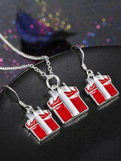 Enamel Christmas Gift Jewelry Set - Red