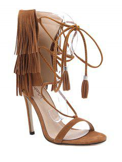 Fringe Lace-Up Stiletto Heel Sandals - Brown 40