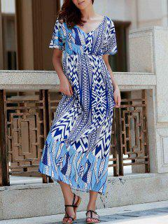 Zig Zag Imprimer Plongeant Neck Maxi Dress - Bleu Xl