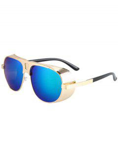 Hollow Out Hole Golden Metal Sunglasses - Blue