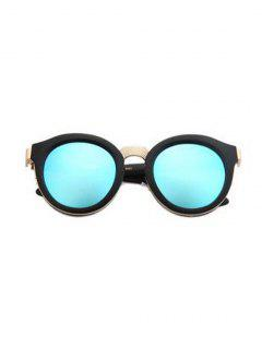 Black Frame Metal Splicing Sunglasses - Light Blue