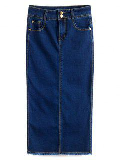 Fitted Packet Buttock High Waist Denim Skirt - Deep Blue S