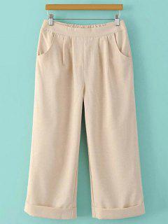 Elastic Waist Wide Leg Capri Pants - Beige L