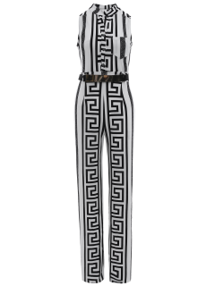 Printed Stand Neck Sleeveless Jumpsuit - White S