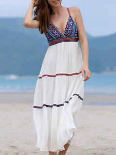 Beaded Embroidery Cami Sleeveless Dress - White L