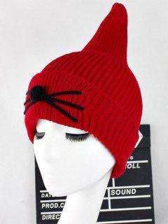 Warm Cat Beard Shark Fin Shape Knit Hat - Red