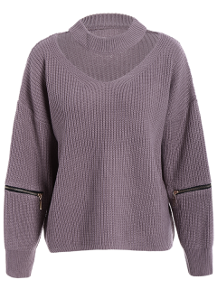 Plus Size Cut Out Chuky Choker Sweater - Light Purple