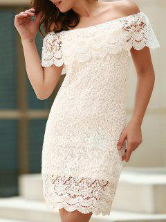 Off The Shoulder Flounce Ruffles Boat Neck Lace Dress - White 2xl