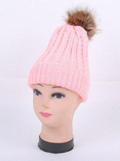 Winter Cable Knit Pom Hat - Pink
