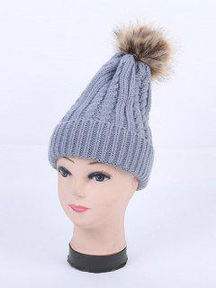 Winter Cable Knit Pom Hat - Gray