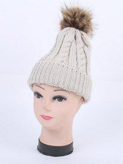 Winter Stripy Cable Knit Pom Hat - Light Gray