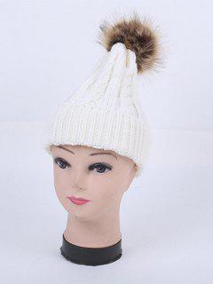 Winter Stripy Cable Knit Pom Hat - White