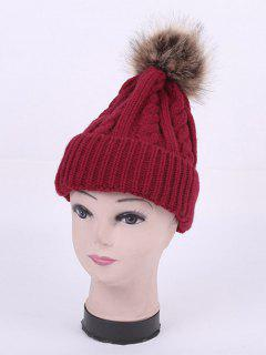 Winter Stripy Cable Knit Pom Hat - Wine Red