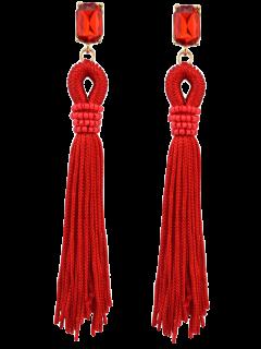 Faux Crystal Fringe Earrings - Red