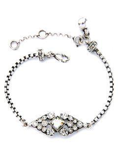 Rhombus Rhinestone Bracelet - Silver