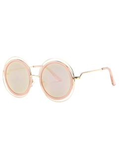 Cut Out Round Mirrored Sunglasses - Rose Gold