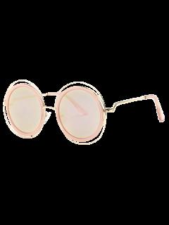 Découpez Out Round Mirrored Lunettes De Soleil - Or Rose