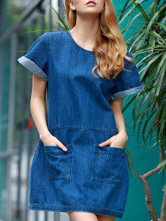 Hemming Double Pockets Round Neck Short Sleeve Denim Dress - Blue 2xl