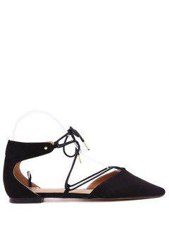 Con Cordones De Los Zapatos De Punta Estrecha Negro Plano - Negro 37