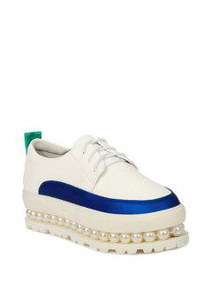 Faux Pearl Color Block Platform Shoes - White 37
