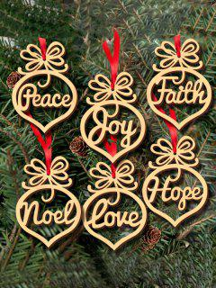 6PCS Hollow Out Wooden Hangers Christmas Decoration - Wood