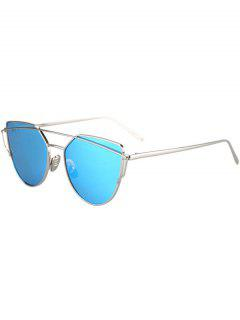 Metal Bar Silver Frame Sunglasses - Light Blue