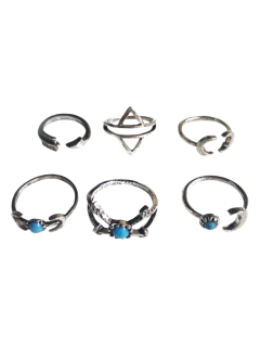 Moon Arrow Ethnic Style Rings - Silver