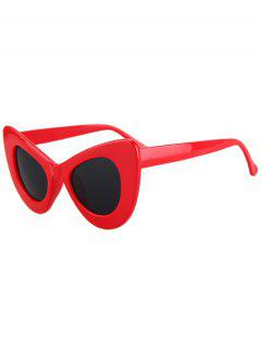Solid Color Butterfly Shape Sunglasses - Red