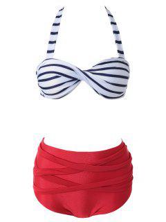 Halter Stripe Twist Vintage Bandage Bikini Set - Red With White Xl