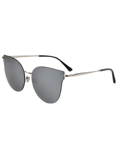 Street Fashion Silver-Rim Cat Eye Sunglasses - Silver Gray