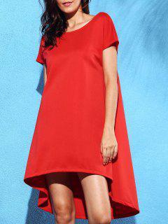 Vestir De Manga Corta Cuello Redondo Sólido De Color Sueltos - Rojo L