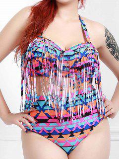 Halter Plus Size Fringe Design Printed High-Waisted Bikini - Purple Xl