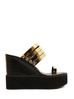 Toe Ring Platform Wedge Heel Slippers - Golden 35