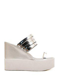 Toe Ring Platform Wedge Heel Slippers - Silver 39