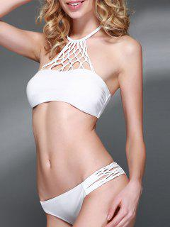 Openwork Halter Cut Out Bikini Set - White L